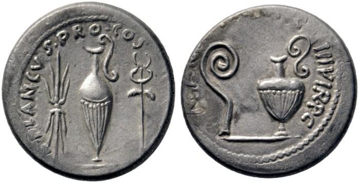 MARCUS ANTONIUS and L. MUNATIUS PLANCUS  AR Denarius Lanz 162-201 modern dies?.jpg
