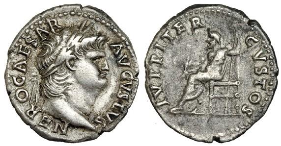Nero ar denarius Jupiter Jesús Vico 145-271 cast fake