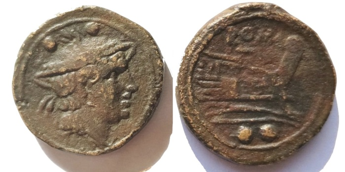 Roman republican anonymous ae sextans mercury prow
